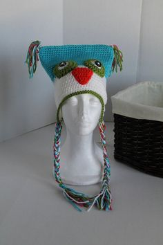 Turquoise and White Owl Hat  Youth Boy or Girl by SnugableTouches, $15.00