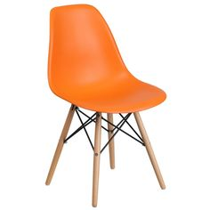 Shop Flash Furniture Elon Series Orange Plastic Accent Side Chair with Wood Base.