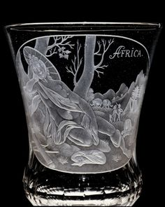Baroque Glass: Covered Goblet Engraved with Continent of Africa by Glucksburg Glasshouse, about 1710-1725 | Corning Museum of Glass