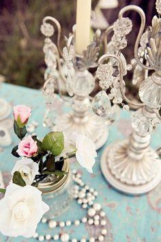 worn robin's egg blue table / candelabra / roses...so shabby
