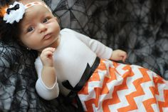 Halloween Fall  Orange chevron newborn baby gown and headband, layette, sleeper, nightgown, coming home outfit, preemie