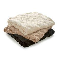 White Vellux Chevron Faux Fur Throw Blanket