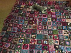 ozbourne's Hugs from Mom granny square blanket. Love the darker, dusty colors not typical of most grannies. #crochet #afghan #throw #color_inspiration