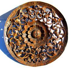 "This incredible teakwood lotus flower panel is hand-carved in Northern Thailand by Lek...Spectacular piece...24 "" diameter...Here's the artist Lek, our friend in N. Thailand. 3 dimensional, in depth c"