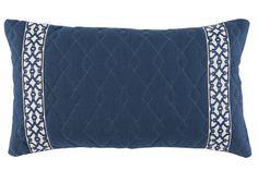 Quilted Denim Blue Linen Tonal Border PIllow, Decorative throw pillow, accent pillow, sofa pillow, lacefield pillow, toss pillow, navy pillow, lumbar pillow