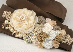 Champagne & cream wedding sash.  (browns, golds, and pearls)