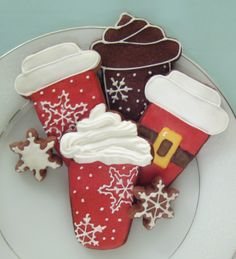Christmas Latte Cookies- Christmas Latte Cookies Donna Dowell Cut – Out Cookie Decorating! Christmas Latte Cookies Donna Dowell Christmas Latte Cookies Christmas Latte Cookies Cut – Out Cookie Decorating! Christmas Sugar Cookies, Christmas Sweets, Noel Christmas, Holiday Cookies, Holiday Treats, Snowflake Cookies, Xmas, Iced Cookies, Cute Cookies
