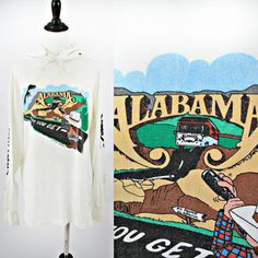 vintage 80s ALABAMA band CONCERT 50/50 t-shirt HOODIE size M by PasseNouveauVintage, $39.00