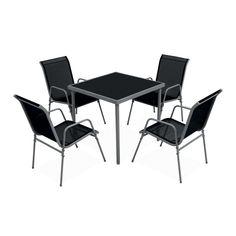 Table de jardin Bali teck/noir 8/12 places | Ids, Tables and De...
