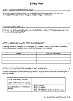 Printables Safety Plan Worksheet note cases and templates on pinterest safety plan preview