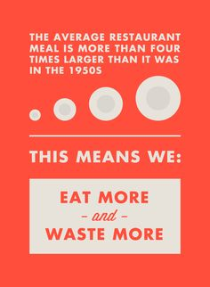 The average restaurant meal is more than four times larger than it was in the 1950s, This means we: Eat more and waste more  Learn smart strategies for wasting less food at http://ivaluefood.com  #ivaluefood #foodwaste #zerowaste