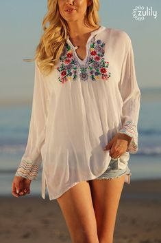 aaac3efe5a  19.99 White  amp  Red Floral-Embroidered Semi-Sheer Notch Neck Tunic -  Women