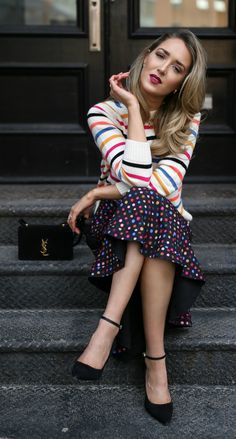 Polka Dot Midi Skirt + Rainbow Striped Sweater // Rainbow polka dot midi skirt, rainbow striped sweater, black suede pointed toe ankle strap pump, velvet black shoulder bag,  gold statement necklace, black cat eye sunglasses {Saloni, Chinti and Parker, Saint Laurent, YSL, Prada, Sam Edelman, colorful outfit, rainbow style, how to style prints, fashion blogger, classic fashion}