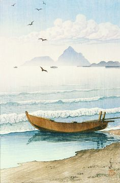 """""""""""This journey has always been about reaching your own other shore no matter what it is, and that dream continues."""" - Diana Nyad (Painting - """"A boat being pulled onto shore at sunset"""" - Hasui Kawase, Japanese, 1883 - Japanese Artwork, Japanese Prints, Japanese Style, Chinese Painting, Chinese Art, Japan Painting, Art Asiatique, Japon Illustration, Botanical Illustration"""