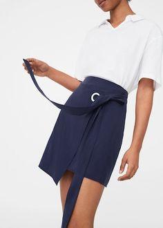 Spódnica z tencelu® z wiązaniem - Spódnice dla Kobieta | MANGO Polska