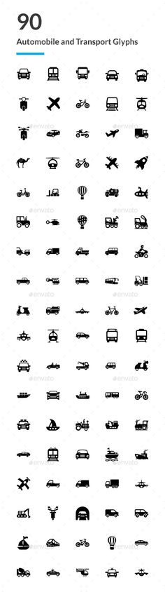 90 Automobile and Transport Icons — Vector EPS #set of automobile solid icons #transport glyph icons • Available here ➝ https://graphicriver.net/item/90-automobile-and-transport-icons/20752335?ref=rabosch