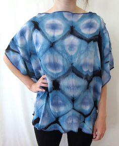 Galactic Blues Itajime Shibori Hand-Dyed Crinkled Silk Chiffon Top by DianneKoppischHricko on Etsy