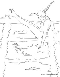 Diving Sport Coloring Page More Sports Pages On Hellokids