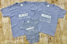 Bodysuit Shirt, Sibling Shirts, Grey Shirt, Siblings, Oldest Child, Funny Shirts, New Baby Products, I Shop, Sisters
