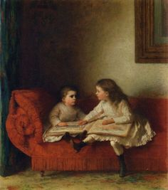 The Lesson (aka The Lesson with Page N. O. P. of the Alphabet Book) (1874) - oil on board. Private collection.