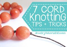 Cord knotting techniques and tutorials: These cord knotting tips & tricks will help you plan your knotted cord jewelry designs and teach you how to get started! Etsy Jewelry, Jewelry Crafts, Handmade Jewelry, Jewelry Ideas, Jewlery, Handmade Gifts, Jewelry Knots, Beaded Jewelry, Beaded Necklaces
