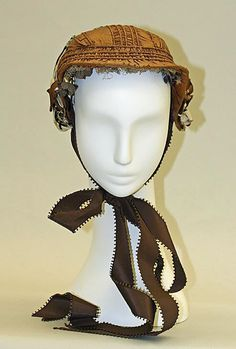 """1860s bonnet, American, silk, length (front to back): 8""""; gift of Mrs. Sally Victor, 1949, front view"""