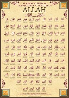 99 Names of Allah by Islamic Posters It has been narrated by Abu Hurairah that Allahs Messenger SAW said: Verily Allah has ninety-nine names, hundred bu. 99 Names of Allah