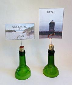 Wire Photo Holder Menu Display Upcycled Wine by beachwalkerz, $8.00