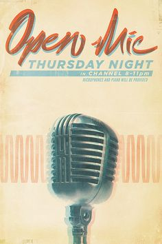 New Typography Designs open mic poster by Christopher Gulczynski