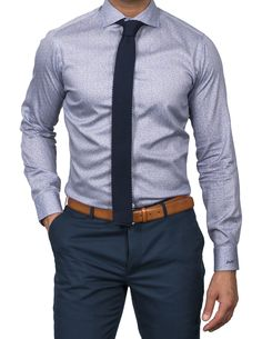 Business casual does not have to be plain. Incorporating some casual print dress shirts with solid ties brings a touch of style to your office attire. Shirt And Tie Outfits, Mens Casual Dress Outfits, Casual Office Attire, Formal Men Outfit, Men Casual, Men Dress, Dress Shirts, Dress Clothes, Men's Formal Wear