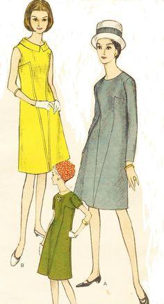 années 1960 Womens One Piece robe une ligne robe V par CloesCloset