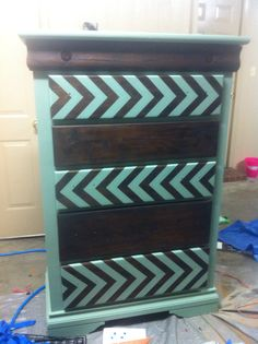 Dresser I sanded down the drawers and restained them. Painted the dresser and the design on the drawers! Eclectic stenciled painted dresser. Boys eclectic bedroom.