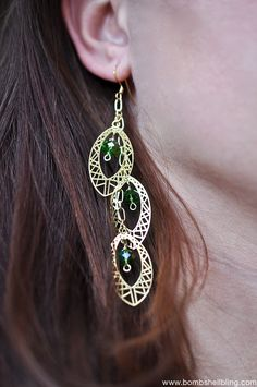 Gold & Green Party Earrings Tutorial from Bombshell Bling