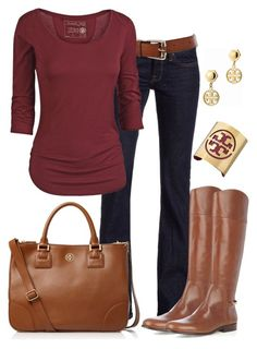 """~Burgundy Wine~"" by mels777 ❤ liked on Polyvore featuring Lucky Brand, Karen Millen, Fat Face, Tory Burch, jeans, belts, tops, bracelets, earrings and boots"