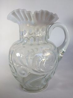 Jefferson Glass White Opalescent Buttons and Braids Antique Water Pitcher #JeffersonGlass