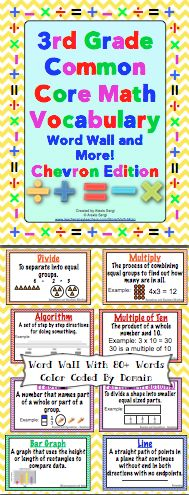 3rd grade common core math vocabulary word wall and more chevron edition math vocabulary is. Black Bedroom Furniture Sets. Home Design Ideas