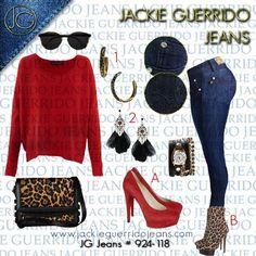 Súper elegante. rojo, animal y jean.