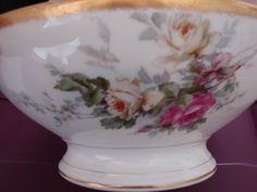 1900-1909 Large Antique Centerpiece Bowl, T&V LIMOGES, French Porcelain, Fine Art, Pedestal Fruit Bowl, Roses Gold Trim, Tressemanes Vogt by BackStageVintageShop on Etsy