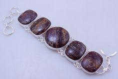 Free Shipping 41 gram stunning WOOD JASPER  stone  .925 sterling silver handmade bracelet free shipping by OCEANJEWELLERS on Etsy