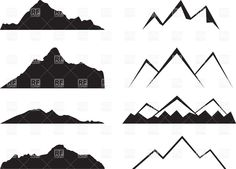 Simple mountain silhouettes, 34763, Silhouettes, Outlines, download Royalty-free vector clip art (eps)