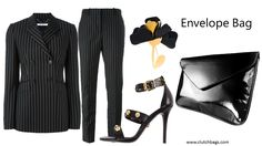 Trend Thursday! Chic pinstripes as opposed to your dad's old suits!!!! Clutch It and Go! www.clutchbags.com http://www.clutchbags.com/clutch-bag.html #envelopebag #clutchbag #patent #madeinusa #nyc #keepitclutch Farfetch.com GIVENCHY  embroidered pinstripe trousers/blazer Marni flower brooch Vercsace Medusa studded sandal