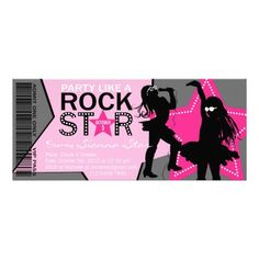 Rock Star Girl Band Birthday Pink Gray Personalized Invites