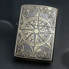 Zippo-Lighter-Classical-Compass-2-Both-Sides-Etching-Gold-color-Brass-Best-Buy