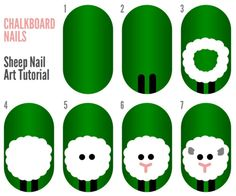 Sheep Nail Art Tutorial St. Patty's Day. I miss seeing sheep everywhere