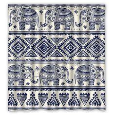 Elephant Art On Aztec Pattern Waterproof Bathroom Fabric Shower Curtain Decor 33