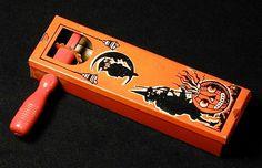 Vintage Halloween Noisemaker with wood handle