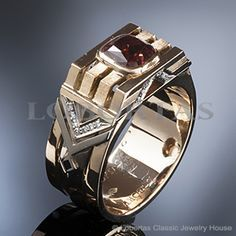 A gold diamond ring for man with garnet and enamels :: Men's Jewelry & Jewels :: Capricorn