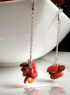 Chain earrings with wood and shell beads              by Triburban