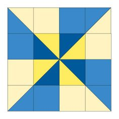 """Double Pinwheel Quilt Block Pattern by Janet Wickell Finished Block Size: 12"""" x 12"""" square Each Double Pinwheel quilt block has sixteen units, eight (quick pieced) half-square triangle units and eight squares. I made my center pinwheel a combination of dark blue and bright yellow. The pinwheel extensions are lighter versions of both colors."""