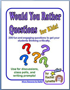 Activities Inspiration: Would you rather questions for kids. These would be fun for morning meeting or use as team builders for beginning of the year!